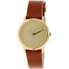 A sturdy stainless steel case and beautiful goldtone dial combine to make this fashionable and functional watch. The brown leather strap secures with a buckle clasp and the watch is finished with a Japanese quartz movement.