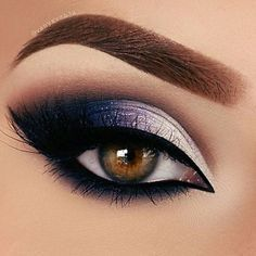 Pretty dark silver midnight navy blue makeup smokey eye brows eyebrows gorgeous beautiful pro professional cool dramatic diva full glam | Maquiagem | Pinterest…