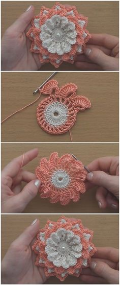 Learn To Crochet Easy Gorgeous Flower - ilove-crochet Doily Patterns, Flower Patterns, Knitting Patterns, Crochet Patterns, Easy Patterns, Crochet Crafts, Yarn Crafts, Easy Crochet, Crochet Projects