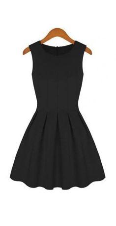 Chic Zipper Closure Round Neck Black Tank Dress