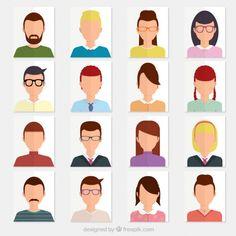 Variety of avatars Free Vector