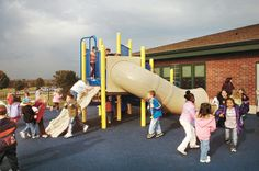 Check the playground equipment before letting kids play on it. For example, surfaces that are too hot can cause burns, and loose ropes -- ropes that aren't secured on both ends -- can cause accidental strangulation. The ground should be covered in a protective surface such as rubber mats, wood or rubber mulch or wood chips, never grass, asphalt or concrete. The right surface materials could reduce the risk of head injury or other severe injury in the event of a fall.
