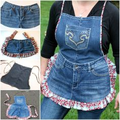 How to DIY farm girl apron from old jeans DIY Garden Apron From Old Jeans Jean Crafts, Denim Crafts, Artisanats Denim, Denim Purse, Denim Skirt, Jean Diy, Jean Apron, Image Mode, Apron Tutorial