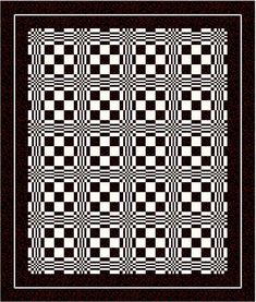 Optical illusion quilt. Amazing what fabric can do. Just two fabrics!