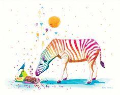 Rainbow Zebra Print - Mid-autumn Fragance - 8x10 Childrens Print Nursery Decor Art Cute Wall Art Animal Art (18.00 SGD) by LittleBlueMoon