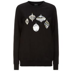 Markus Lupfer Sequinned Bauble Anna Sweater ($305) ❤ liked on Polyvore featuring tops, sweaters, markus lupfer top, sequin christmas sweater, markus lupfer, christmas sweater and sequin top