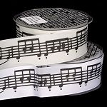 Black and white music notes wired ribbon.  11 yard roll, $18.95