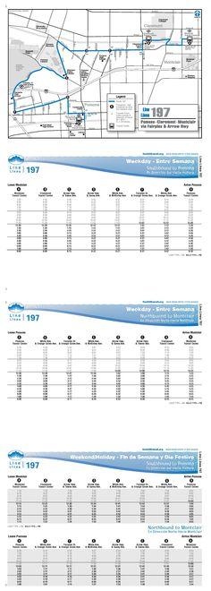 Line 197 serves Pomona, Claremont, and Montclair. Popular destinations include Claremont Colleges, Claremont Village, Pomona High School, Sheraton Suites Fairplex, Pomona Fairplex, Pomona Raceway, Pomona Valley Hospital-Medical Center, Bonelli Regional County Park, NHRA Motorsports Museum, Ganesha High School, Park West High School, Pomona Community Center, and Pomona Library.