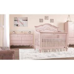 Aurora 5 In 1 Convertible Crib In Blush Pink Pearl