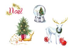 Watercolor Christmas clipart set by masha gross on Creative Market