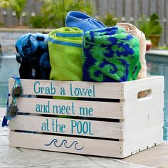 Use ArtMinds Outdoor Paint to create this adorable DIY towel organizer crate for your backyard pool.