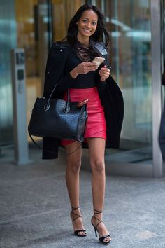 30+ Outfits We Spotted Outside The Victoria's Secret Casting Call #refinery29 http://www.refinery29.com/victorias-secret-angel-model-off-duty-street-style#slide-4 Melie TiacohWhen you've got a job interview at 5 p.m. and drinks at 7....