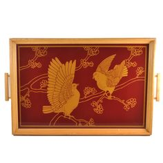 Art Deco Red, Gold, Wood Reverse Painted 2 Doves Tray, The Hour Shop. Visit TheHourShop.com for more vintage serving pieces, barware and cocktail glassware!