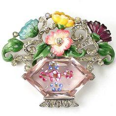 Mazer Pave and Enamelled Hexagonal Amethyst Crystal Flower Basket Pin starting bid = $1,275