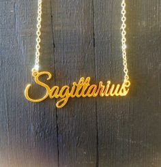 - Gold filled chain - Gold Plated charm - Made in San Diego by a lovely family run business Zodiac Signs Horoscope, Astrology Zodiac, Zodiac Facts, Horoscopes, Aries And Sagittarius, Aquarius, Saggitarius, Ring Watch, Fire Signs