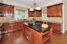 """Traditional Kitchen with Undermount sink, Hendrik Nickel Etched Glass 36 1/4"""" Wide Island Chandelier, Raised panel, U-shaped"""
