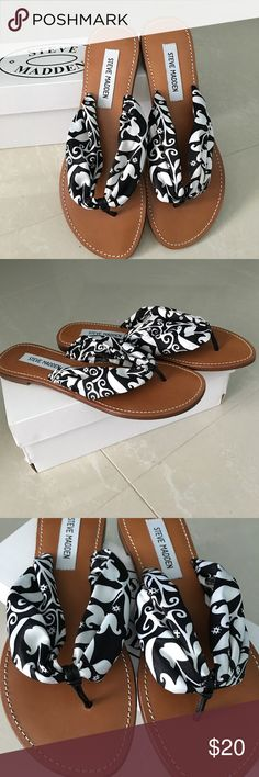 Steve Madden Sandals - Scarf Flip Flop New in Box Really cute flip flop with silk-like black and white scarf. Steve Madden Shoes Sandals