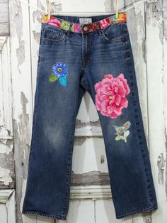 Upcycled JeansHippie JeansPatched by CuriousOrangeCat on Etsy