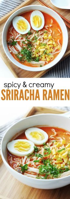 An easy, quick, and delicious Garlic Sriracha Ramen recipe. Perfectly spicy and creamy, packed with flavours. This recipe turns simple packaged instant noodles into the perfect bowl of ramen!