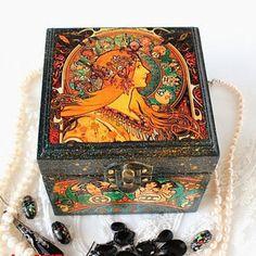 Wood Jewelry Box - Original Artwork by Alphonse Mucha - by ArtKaleydoskop2015