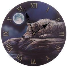 Quiet Reflection Wolf Clock