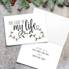 You Light Up My Life Digital Printable Folded Card - Size When Opened Is - Merry Christmas Lights Happy Holidays Love Saying Quote - Weihnachten Ideens Merry Christmas Wallpaper, Christmas Text, Merry Christmas Quotes, Christmas Drawing, Diy Christmas Cards, Very Merry Christmas, Xmas Cards, Christmas Greetings, Holiday Cards