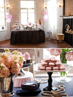 Pretty Pink Parisian Dessert Table for a bridal shower