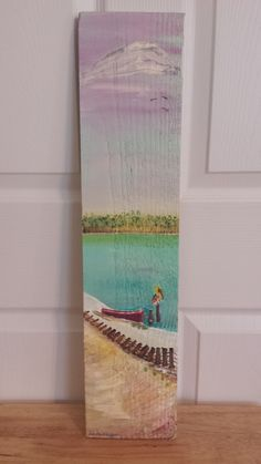 Hand Painted Beach Scene on Reclaimed Fence Board This is the beach scene with…