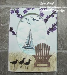 Colorful Seasons, Sailing Home, & High Tide stamp sets work together to make this trifold card. Masculine Birthday Cards, Birthday Cards For Men, Masculine Cards, Tri Fold Cards, Folded Cards, Nautical Cards, Beach Cards, Retirement Cards, Stamping Up Cards