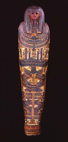 The cartonnage case of Djedkhonsefankh, who was a priest of Amun in the late 9th century BCE. Cartonnage cases were used as the innermost coffins during dynasties 22-24,