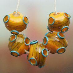 Moss vulkaan handgemaakte Hollow Lampwork kralen door Mandra