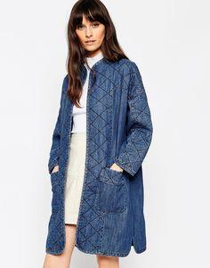 Image 1 ofASOS Denim Premium Longline Quilted Jacket