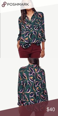 Abstract tulip popover camp shirt Worn only once! One of my favorite Ann Taylor prints from this fall season Ann Taylor Tops Blouses