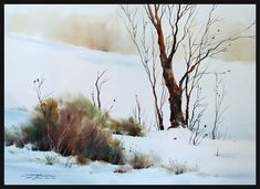 sterling edwards - Portfolio of Works: Watercolor Landscapes and Seascapes Watercolor Landscape Tutorial, Watercolor Projects, Watercolor Paintings Abstract, Watercolor Trees, Watercolor Artists, Abstract Landscape, Watercolor Portraits, Abstract Oil, Painting Snow
