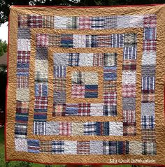 The third of the memory quilts from my grandfather's shirts is finished, and this one has a decidedly campy feel.  I'm pretty pleased with t...
