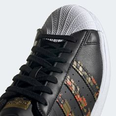 adidas Superstar Shoes - Black | adidas US Adidas Superstar Shoes Black, Black Adidas, Arena Stage, Superstars Shoes, Black Shoes, Adidas Sneakers, Lace Up, Pairs, Leather