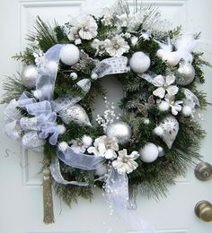 Glittery Large Silver and White Christmas Wreath, Sparkling Wreath ...