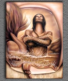 Mermaid airbrush painting on canvas