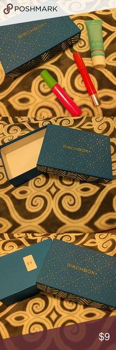 Birchbox Cosmetic Box This box is so cute!!  Features a royal blue design with gold metallic detailing.   The bottom of the big is simply royal blue and the inside is pure white.   Bo stains, scratches  or bent corners here!  I have another Birchbox for sale in my closet. Buy both and save!  ***** CHEAPER on my Mercari @DearErica ***** Birchbox Accessories