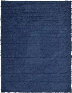 Navy Blue Solid Shag Area Rug