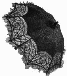 Black lace parasol.