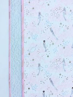 Pink baby quilt for girl custom baby heirloom homemade baby mermaids and narwhals wholecloth quilt baby quilt negle Image collections
