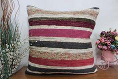 striped kilim pillow aztec kilim pillow 24x24 square kilim #etsy #pillow #handmade