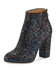 Alba+Glitter+Fabric+Block-Heel+Bootie,+Night+Sky+Blue+by+Charlotte+Olympia+at+Bergdorf+Goodman.
