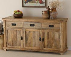 Baku Light Natural Solid Mango Large Sideboard | Oak Furniture Land