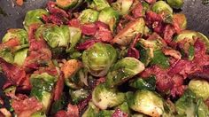 Pan-fry Brussels sprouts in butter and crispy bacon for a smoky addition to your vegetable side dish. You can add a little of the bacon grease to the dish if you prefer.