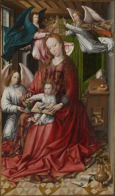 Colyn de Coter Netherlandish, 1450/55–before 1539/40  Virgin and Child Crowned by Angels, 1490/95  Oil on panel 151.9 x 88.6 cm (59 13/16 x 34 7/8 in.) Painted surface: 150 x 86.8 cm (59 1/16 x 34 1/8 in.) Inscribed: ORAPR[O]NObIS*A / AVE*REGINA*... / CELOROM [sic]*MATER*REGIS*ANGVLO / RVM (on hem of the Virgin's mantle)