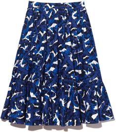 MSGM Poplin Floral Skirt in Blue, Size IT 38