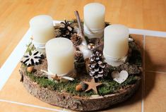 Advent Wreath - Advent Wreath Wooden Wood Disc white beige copper - a unique product by CharLen-Dori Christmas Table Settings, Christmas Table Decorations, Handmade Decorations, Christmas Room, Christmas Crafts, Xmas, Christmas Ornaments, Advent Candles, Christmas Candles