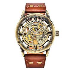 Harwish Herren Sport-Armbanduhr, automatisch, mechanisch, Leder-Band, Skelett, Braun - http://uhr.haus/harwish/harwish-herren-automatische-mechanische-leder